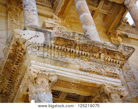 Architectural detail of the Library of Celsus Ephesus Turkey