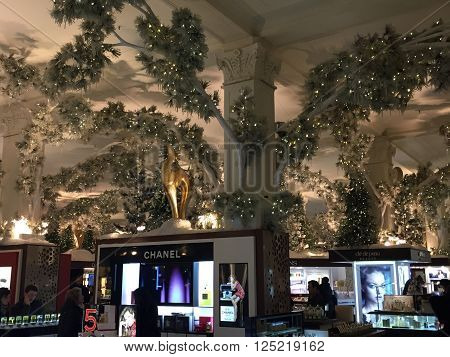 NEW YORK, NY - DEC 20: Holiday decor at Saks Fifth Avenue flagship store in New York, as seen on Dec 20, 2015. The store attracts passersby and tourists in the holiday season for its window displays.