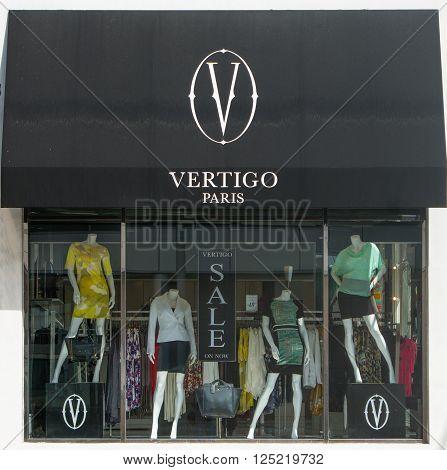 BEVERLY HILLS, CA/USA - APRIL 10, 2016: Vertigo Paris storefront and logo on Rodeo Drive.