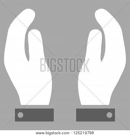 Care Hands vector icon. Care Hands icon symbol. Care Hands icon image. Care Hands icon picture. Care Hands pictogram. Flat dark gray and white care hands icon. Isolated care hands icon graphic.