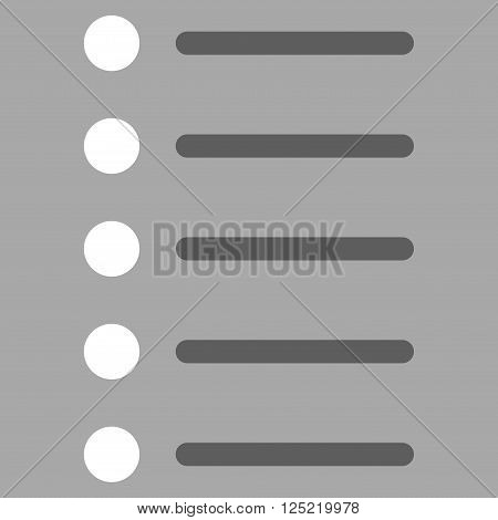 Items vector icon. Items icon symbol. Items icon image. Items icon picture. Items pictogram. Flat dark gray and white items icon. Isolated items icon graphic. Items icon illustration.