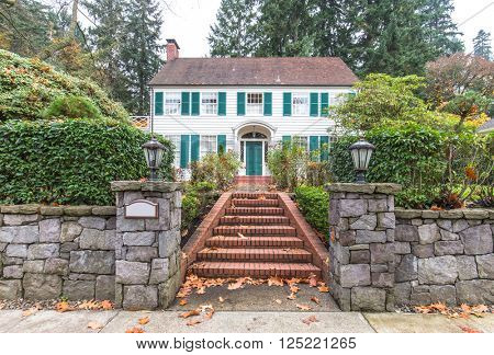 brick steps in front yard of residential house in portland