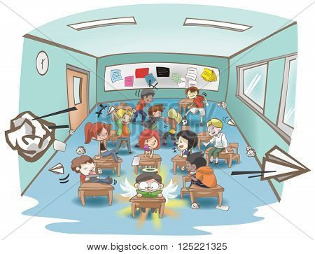 Cartoon illustration of a messy school classroom full of naughty and stubborn students but only one is studying hard like a white sheep in a group of black sheep concept create by vector