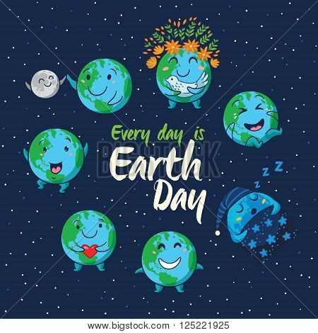 Every day is Earth Day. Card of cute cartoon globes with different emotions. Cute cartoon Earth globe with emoji set. Vector illustration