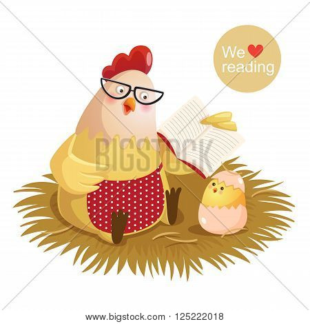 Vector illustration of cartoon hen and chick reading a book