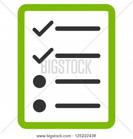 Checklist Page vector icon. Checklist Page icon symbol. Checklist Page icon image. Checklist Page icon picture. Checklist Page pictogram. Flat eco green and gray checklist page icon.