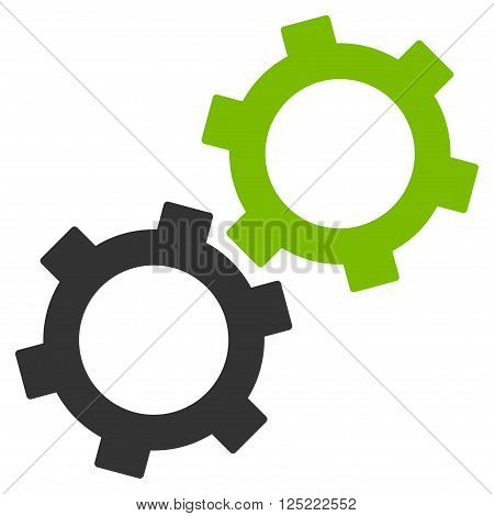 Gears vector icon. Gears icon symbol. Gears icon image. Gears icon picture. Gears pictogram. Flat eco green and gray gears icon. Isolated gears icon graphic. Gears icon illustration.