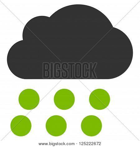 Rain Cloud vector icon. Rain Cloud icon symbol. Rain Cloud icon image. Rain Cloud icon picture. Rain Cloud pictogram. Flat eco green and gray rain cloud icon. Isolated rain cloud icon graphic.