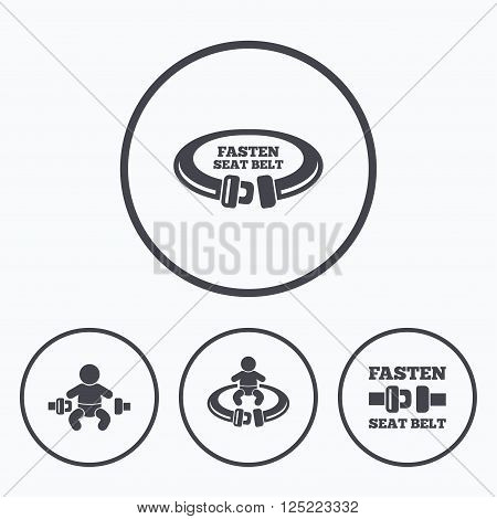 Fasten seat belt icons. Child safety in accident symbols. Vehicle safety belt signs. Icons in circles.
