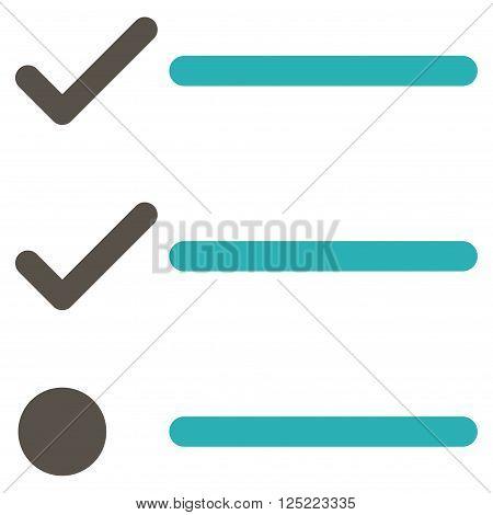 Checklist vector icon. Checklist icon symbol. Checklist icon image. Checklist icon picture. Checklist pictogram. Flat grey and cyan checklist icon. Isolated checklist icon graphic.