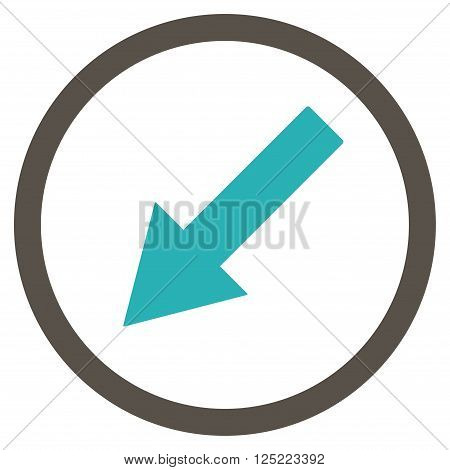 Down-Left Rounded Arrow vector icon. Down-Left Rounded Arrow icon symbol. Down-Left Rounded Arrow icon image. Down-Left Rounded Arrow icon picture. Down-Left Rounded Arrow pictogram.
