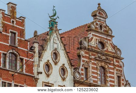 Row Of Beautiful Buildings On Old Market Square In Leuven