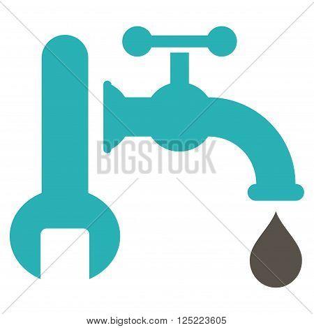 Plumbing vector icon. Plumbing icon symbol. Plumbing icon image. Plumbing icon picture. Plumbing pictogram. Flat grey and cyan plumbing icon. Isolated plumbing icon graphic.
