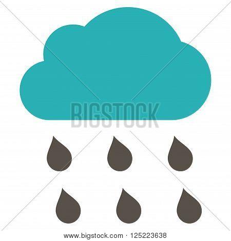 Rain Cloud vector icon. Rain Cloud icon symbol. Rain Cloud icon image. Rain Cloud icon picture. Rain Cloud pictogram. Flat grey and cyan rain cloud icon. Isolated rain cloud icon graphic.
