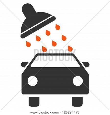 Car Wash vector icon. Car Wash icon symbol. Car Wash icon image. Car Wash icon picture. Car Wash pictogram. Flat orange and gray car wash icon. Isolated car wash icon graphic.