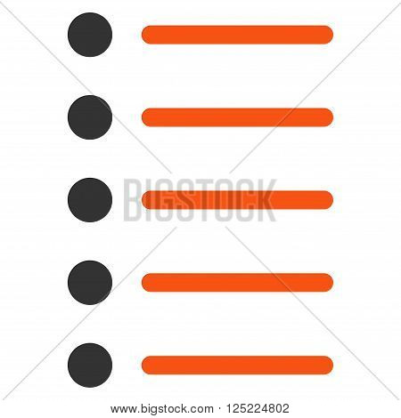 Items vector icon. Items icon symbol. Items icon image. Items icon picture. Items pictogram. Flat orange and gray items icon. Isolated items icon graphic. Items icon illustration.
