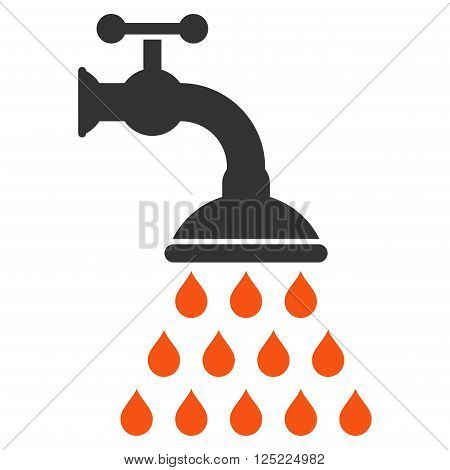 Shower Tap vector icon. Shower Tap icon symbol. Shower Tap icon image. Shower Tap icon picture. Shower Tap pictogram. Flat orange and gray shower tap icon. Isolated shower tap icon graphic.