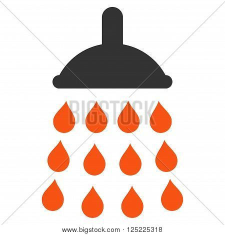 Shower vector icon. Shower icon symbol. Shower icon image. Shower icon picture. Shower pictogram. Flat orange and gray shower icon. Isolated shower icon graphic. Shower icon illustration.