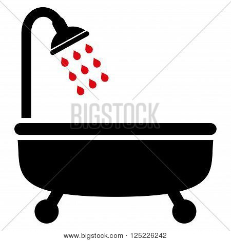 Shower Bath vector icon. Shower Bath icon symbol. Shower Bath icon image. Shower Bath icon picture. Shower Bath pictogram. Flat intensive red and black shower bath icon.