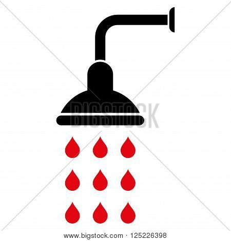 Shower vector icon. Shower icon symbol. Shower icon image. Shower icon picture. Shower pictogram. Flat intensive red and black shower icon. Isolated shower icon graphic. Shower icon illustration.