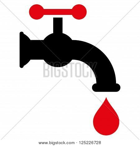 Water Tap vector icon. Water Tap icon symbol. Water Tap icon image. Water Tap icon picture. Water Tap pictogram. Flat intensive red and black water tap icon. Isolated water tap icon graphic.
