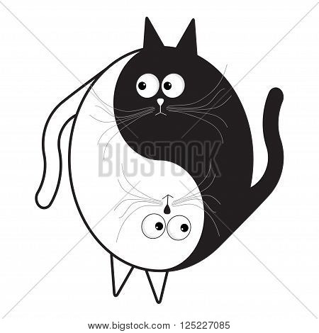 White and black cute funny cartoon cat. Yin Yang sign icon. Feng shui symbol. Isolated Flat design style Vector illustration