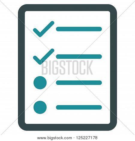 Checklist Page vector icon. Checklist Page icon symbol. Checklist Page icon image. Checklist Page icon picture. Checklist Page pictogram. Flat soft blue checklist page icon.
