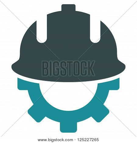 Development Helmet vector icon. Development Helmet icon symbol. Development Helmet icon image. Development Helmet icon picture. Development Helmet pictogram. Flat soft blue development helmet icon.