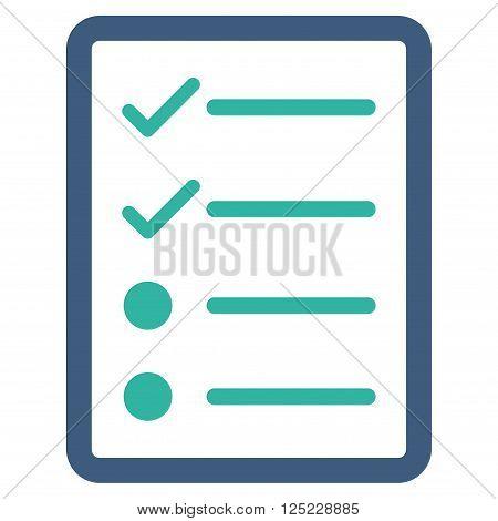 Checklist Page vector icon. Checklist Page icon symbol. Checklist Page icon image. Checklist Page icon picture. Checklist Page pictogram. Flat cobalt and cyan checklist page icon.