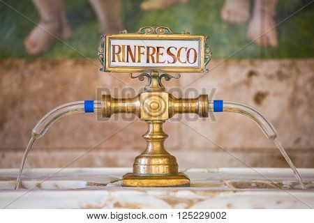 Montecatini Terme, Italy - September 15, 2015: Fountain with the Rinfresco water in Tettuccio Terme spa in Montecatini Terme, Italy