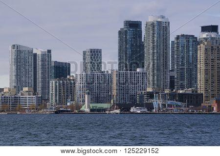 Toronto, Canada - January 27, 2016: Toronto Skyline From Lake, Ontario, Canada.