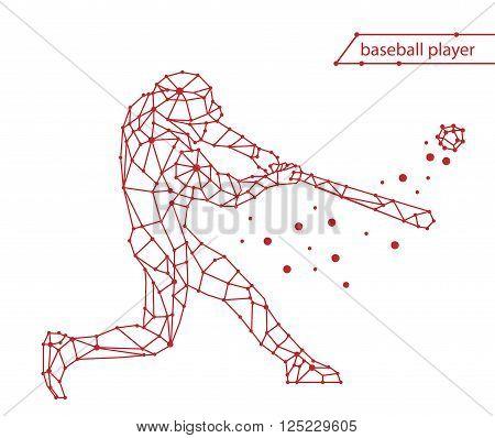Trendy stylized illustration movement, baseball player, line vector silhouette of baseball player