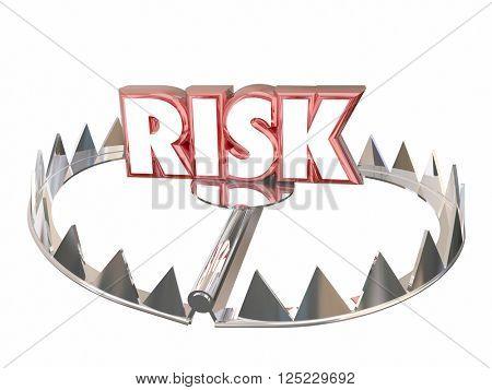 Risk Word Bear Trap Danger Liability Hazard 3d