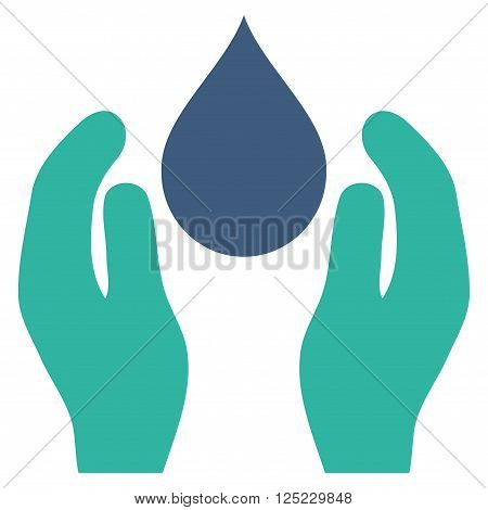 Water Care vector icon. Water Care icon symbol. Water Care icon image. Water Care icon picture. Water Care pictogram. Flat cobalt and cyan water care icon. Isolated water care icon graphic.