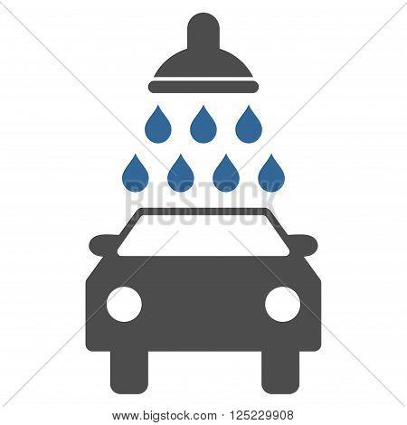 Car Wash vector icon. Car Wash icon symbol. Car Wash icon image. Car Wash icon picture. Car Wash pictogram. Flat cobalt and gray car wash icon. Isolated car wash icon graphic.