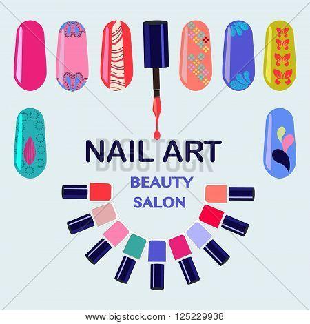 Vector Set of colorful nail polish bottles. Nails art beauty salon background - Illustration