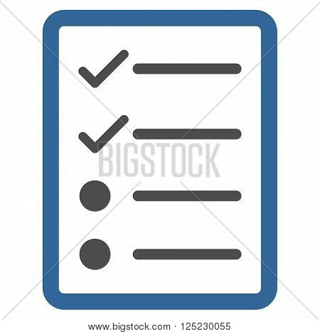 Checklist Page vector icon. Checklist Page icon symbol. Checklist Page icon image. Checklist Page icon picture. Checklist Page pictogram. Flat cobalt and gray checklist page icon.