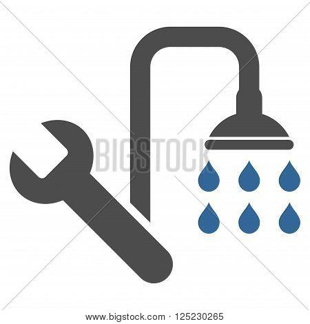 Plumbing vector icon. Plumbing icon symbol. Plumbing icon image. Plumbing icon picture. Plumbing pictogram. Flat cobalt and gray plumbing icon. Isolated plumbing icon graphic.