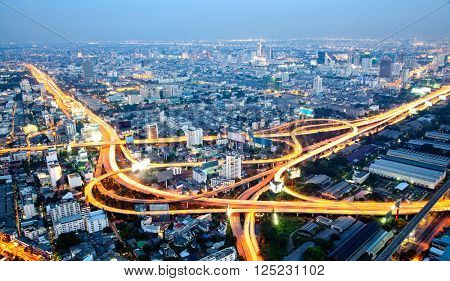 The highest Aerial view of Bangkok Highway at Dusk in Thailand