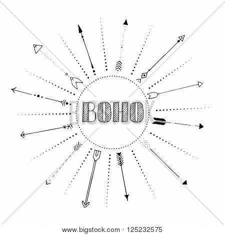 black hand drawn arrow frame with dots and word boho, vector illustration