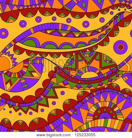 bright summer colored ornate ethnic mexican wave vector seamless pattern