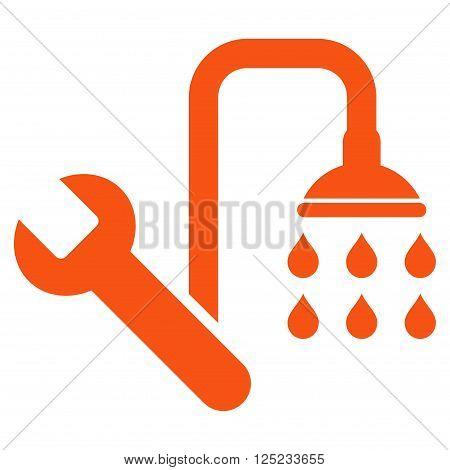 Plumbing vector icon. Plumbing icon symbol. Plumbing icon image. Plumbing icon picture. Plumbing pictogram. Flat orange plumbing icon. Isolated plumbing icon graphic. Plumbing icon illustration.