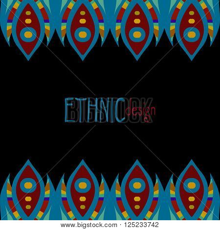 blue and red colored horizontal ethnic african template, vector illustration, black background