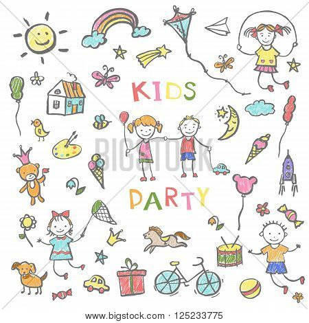 Kids party doodles for the design of childrens parties, birthdays, posters, invitations, childrens textiles. Vector illustration.