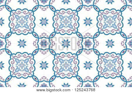 Traditional ornate portuguese and brazilian tiles azulejos in blue and violet gentle colors. Spanish talavera tiles. Vintage pattern. Abstract background. Vector illustration, eps10.