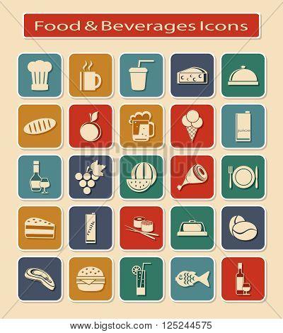 Symbols Set of Food & Beverages on a Light Background.