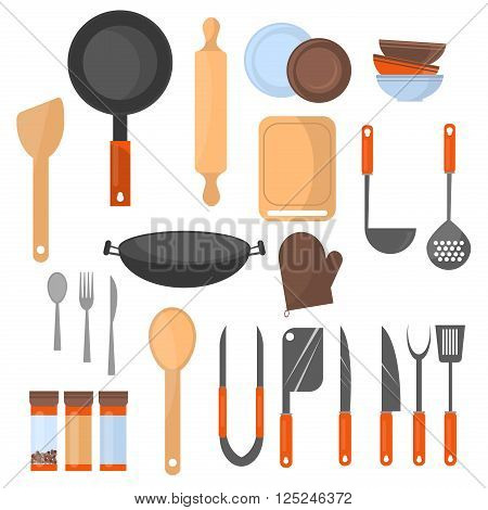 Set of kitchen utensil and collection of cookware icons, cooking tools and kitchenware equipment. Different kitchenware and kitchen utensil tools. kitchen utensil home food cooking design set.
