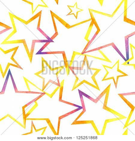 Star seamless pattern. Watercolor star background. Star print. Star. Star pattern background.