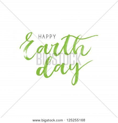 Earth day hand drawn and hand written card on white background poster