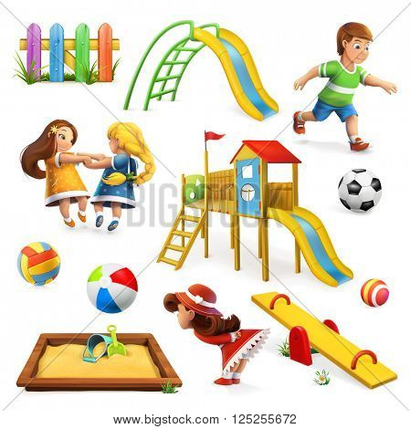 Playground, vector icon set